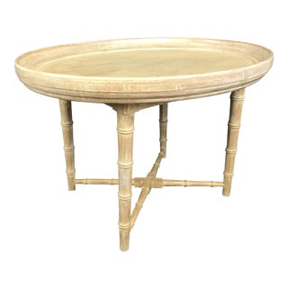 Kittinger-Style Faux Bamboo Oval Tray Table