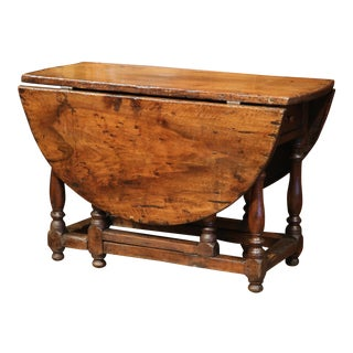 18th Century French Carved Walnut Eight-Leg Oval Drop-Leaf Table with Drawer