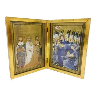 Vintage Gilded Double Frame Featuring Religious Renaissance Print