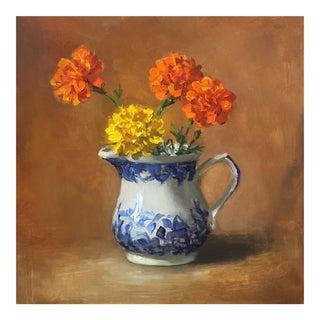 Marigold Flowers Oil Painting