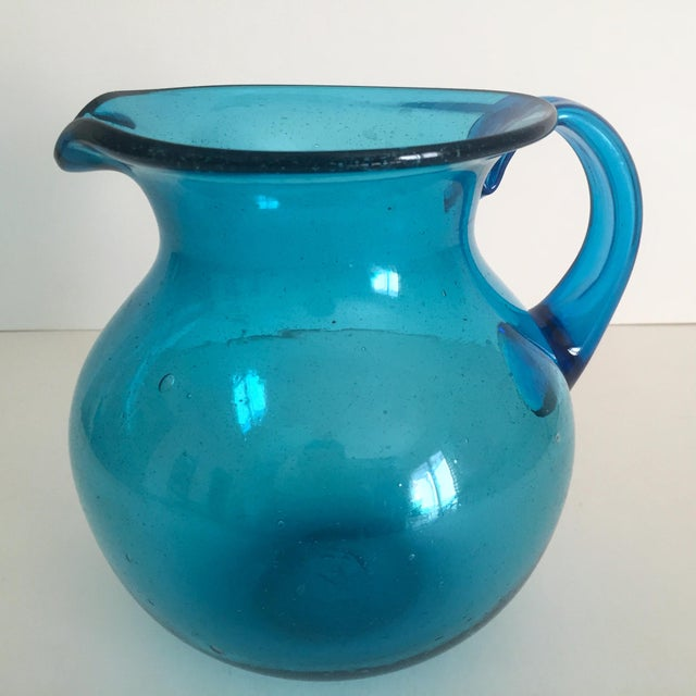 Mid-Century Blue Blenko Glass Pitcher - Image 4 of 11