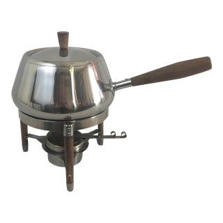 Stainless & Walnut Fondue Pot