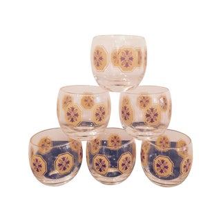 Orange Medallion Roly Poly Glasses - Set of 6