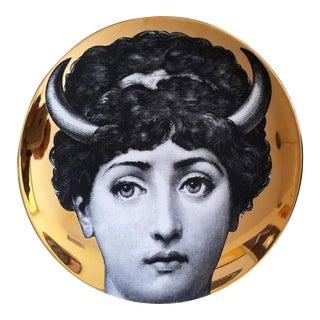 Piero Fornasetti Gold Tema E Variazioni Plate Number 263 with Image of Lina Cavalieri