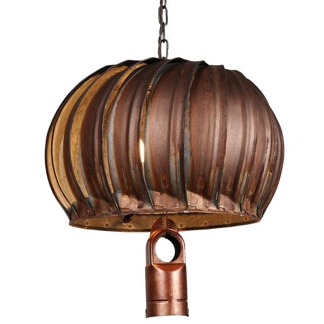 Repurposed Rustic Roof Ventilator Pendant Light - Image 1 of 2