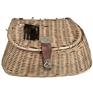 Vintage Wicker & Leather Fishing Creel
