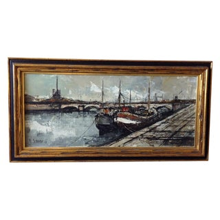 1966 French Nautical Oil Painting by Michel Girard