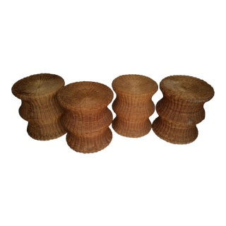 Paul Fankl Style Rattan Stool Chair - Set of 4