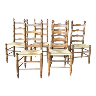 Ladderback Dining Chairs With Rush Seats - S/6