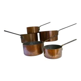French Copper Pots & Pans - Set of 5