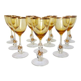 1960s Italian Handblown Amber & Gilt Gold Crystal Wine Glasses -Set of 12