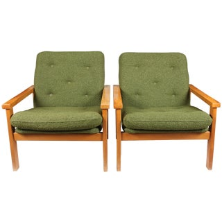 Hungarian Green Mid-Century Chairs - A Pair