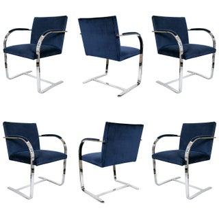 Brno Flat Bar Navy Velvet Chairs - S/6