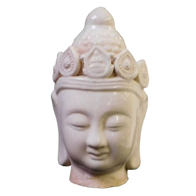 Chinese Ceramic Clay Kwan Yin Head Figure - Image 2 of 7