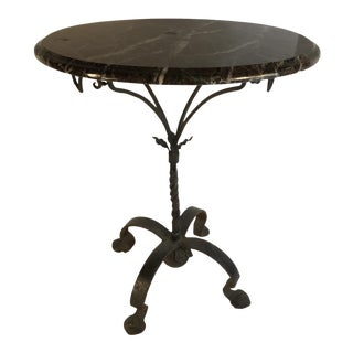 Victorian Wrought Iron Black Marble Side Table