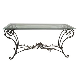 Wrought Iron Beveled Glass Bird Sofa Table