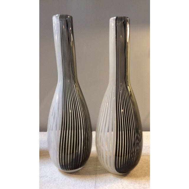 Image of Black & White Murano Vases - A Pair
