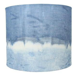 Linen Indigo Shibori Organic Printed Lamp Shade