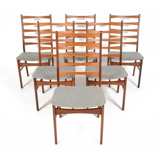 Danish Modern Highback Teak Dining Chairs - S/6