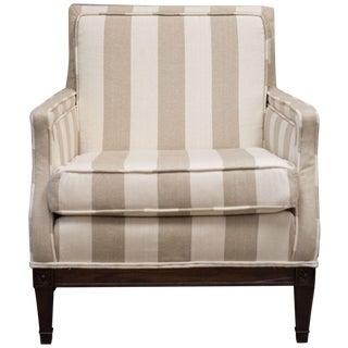 Henredon Taupe & Cream Stripe Vintage Chair