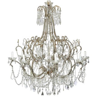 Large Italian Crystal, Gilt Metal Eight-Light Chandelier from the 20th Century