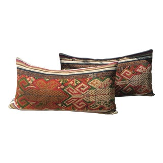 Vintage Handwoven Embroidered Pillows Northern Laos - A Pair