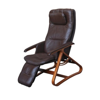 Mid Century Westnofa-Style Brown Leather Recliner