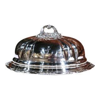 19th Century English Henry Wilkinson Silver Plated Serving Platter with Dome
