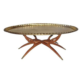 Mid-Century Brass Top Tray Table