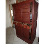 Image of Red Japanese Tansu Cabinet with 5 Drawers
