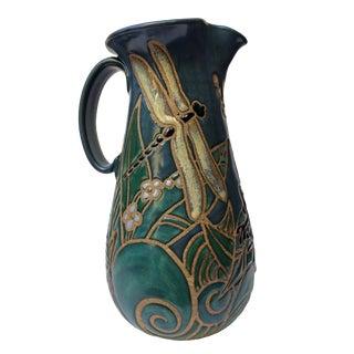 1993 Eleanor Murphey Frog & Dragonfly Ceramic Pitcher