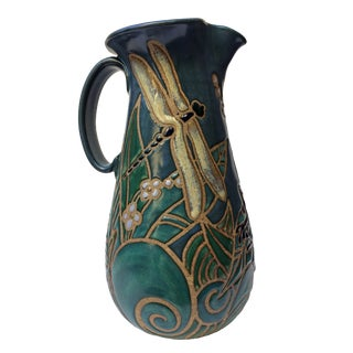 1993 Eleanor Murphey Frog & Dragonfly Ceramic Pitcher