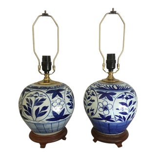 Chinese Blue & White Canton Ginger Jar Lamps - A Pair
