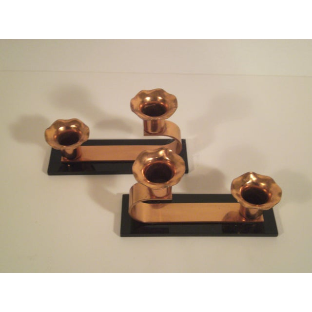 Vintage Copper & Plexiglass Candle Holders - Pair - Image 6 of 8
