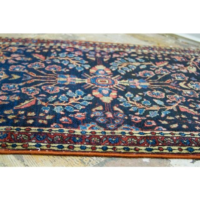 """Blue Persian Sarouk Rug Mat - 1'11"""" X 2'8"""" - Image 7 of 9"""