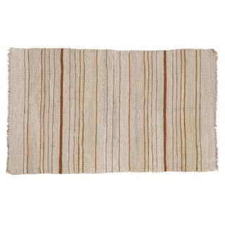 New Earth Tone Striped Kilim Rug - 3' X 4'11""