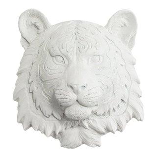 Wall Charmers White Faux Taxidermy Mini Tiger Head Wall Sculpture
