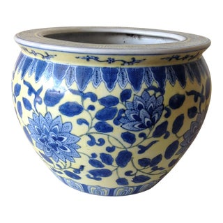 Asian Chinois Yellow & Blue Ceramic Pot