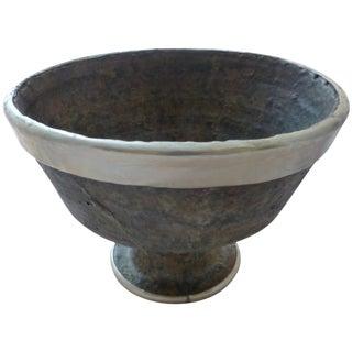 Mid-Century Metal Wrapped Studio Pottery Bowl