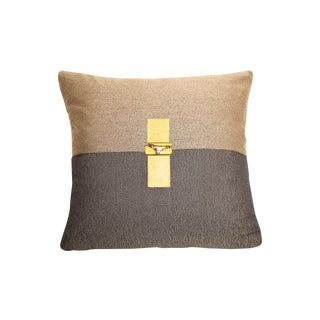 Two-Toned Leather Yellow & Stone Pillow