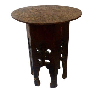 Pyrography Wooden Side Table