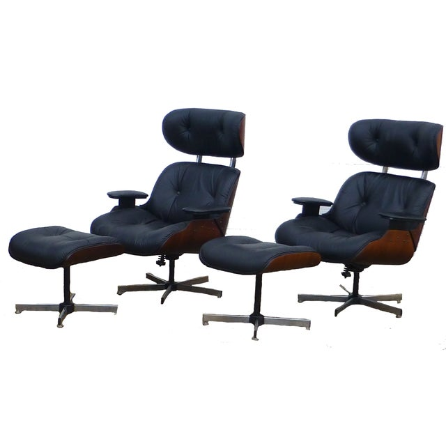 Plycraft Mid-Century Chairs & Ottomans - A Pair - Image 2 of 8