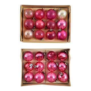 Vintage Mini Pink Christmas Ornaments - Set of 24