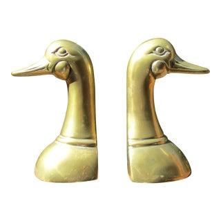Vintage Mid-Century Brass Duck Head Bookends - Pair