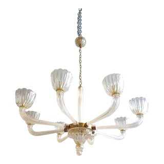 Mid century modern Murano clear glass chandelier