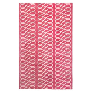 Cococozy Pink Hand-Knotted Wool Rug - 5' x 8'