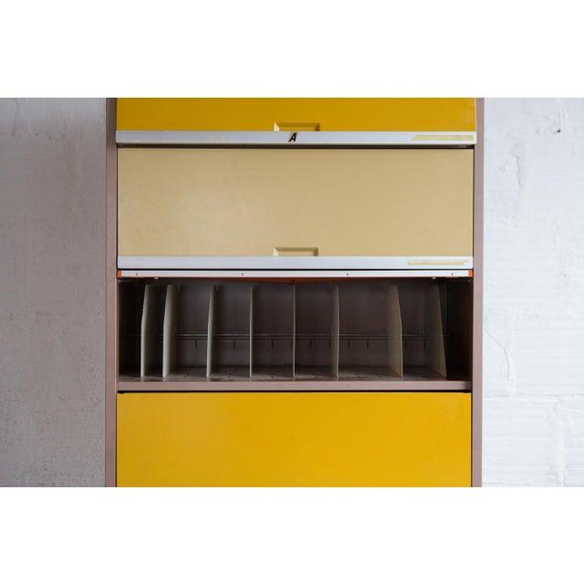 Vintage Orange & Yellow Steel Tab Office Cabinets - Image 6 of 7
