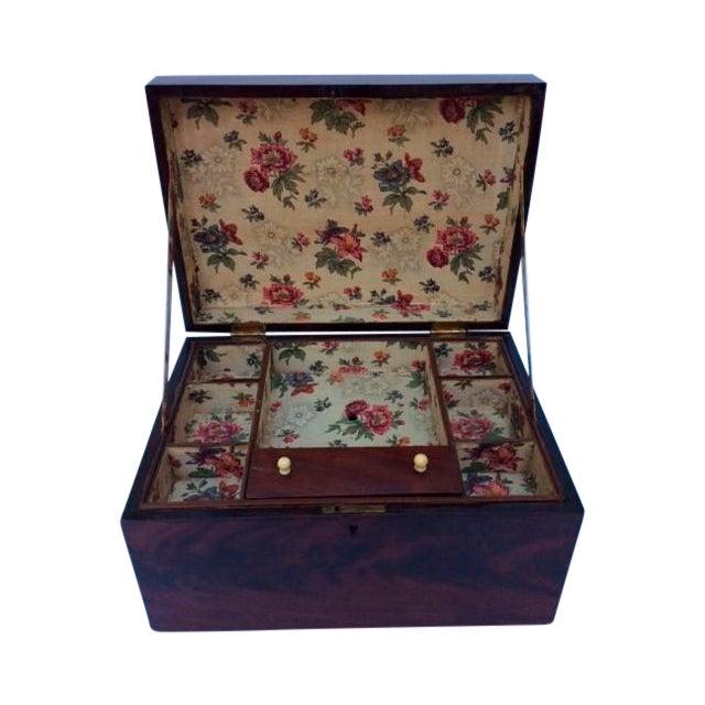 Antique Mahogany Sewing Box - Image 1 of 7