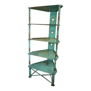 Prouve Style French Blue Steel Shelving Unit