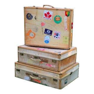 3 Travel Suitcases, Vintage Stickers, Trio of Stacking Cases